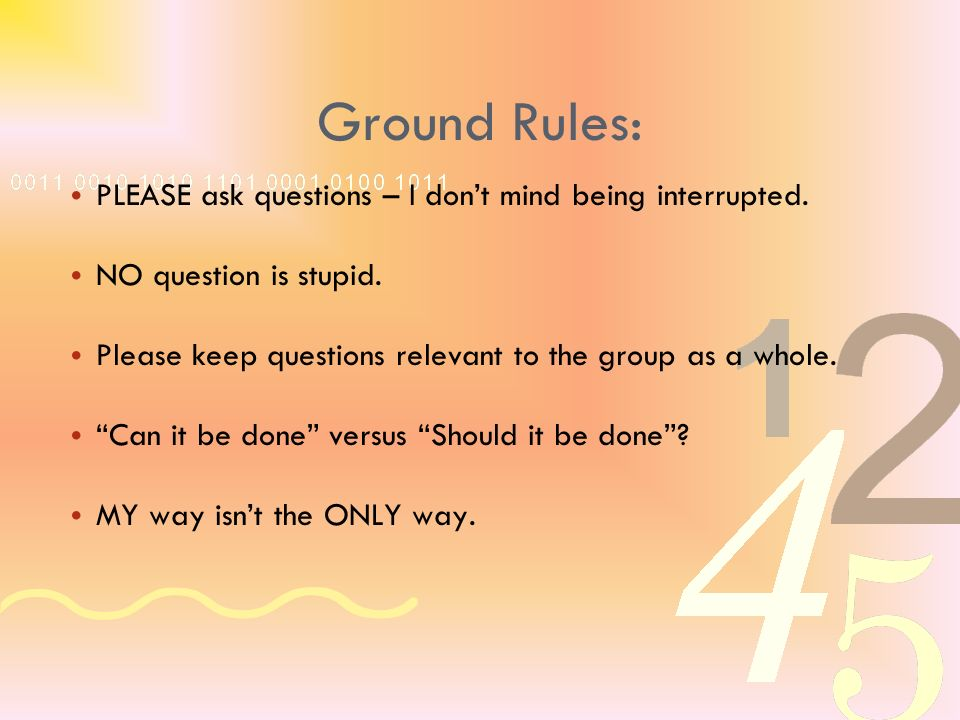 Ground Rules: PLEASE ask questions – I dont mind being interrupted.
