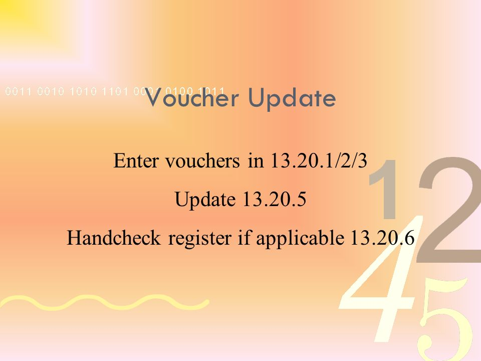 Enter vouchers in 13.20.1/2/3 Update 13.20.5 Handcheck register if applicable 13.20.6 Voucher Update