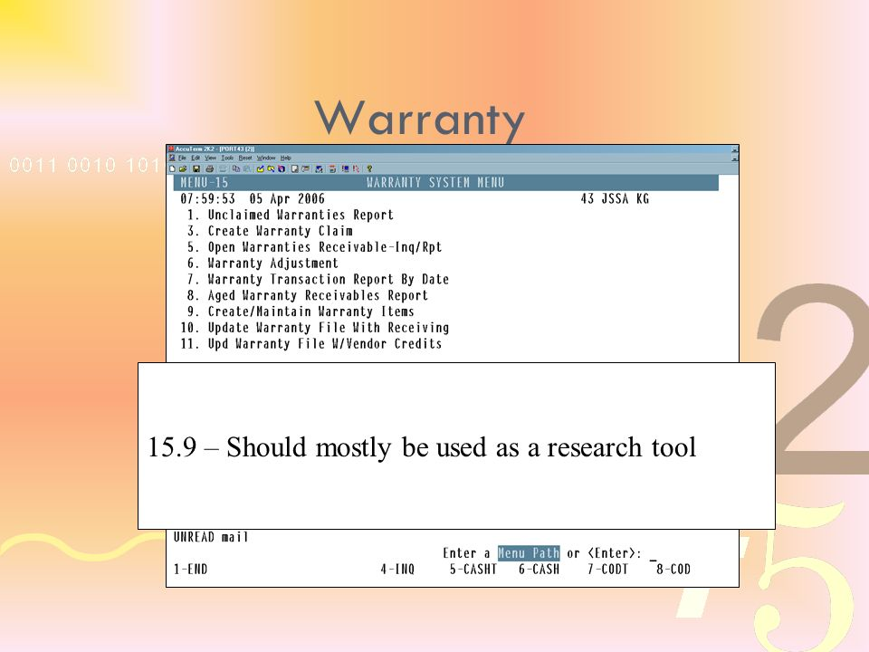 15.9 – Should mostly be used as a research tool Warranty