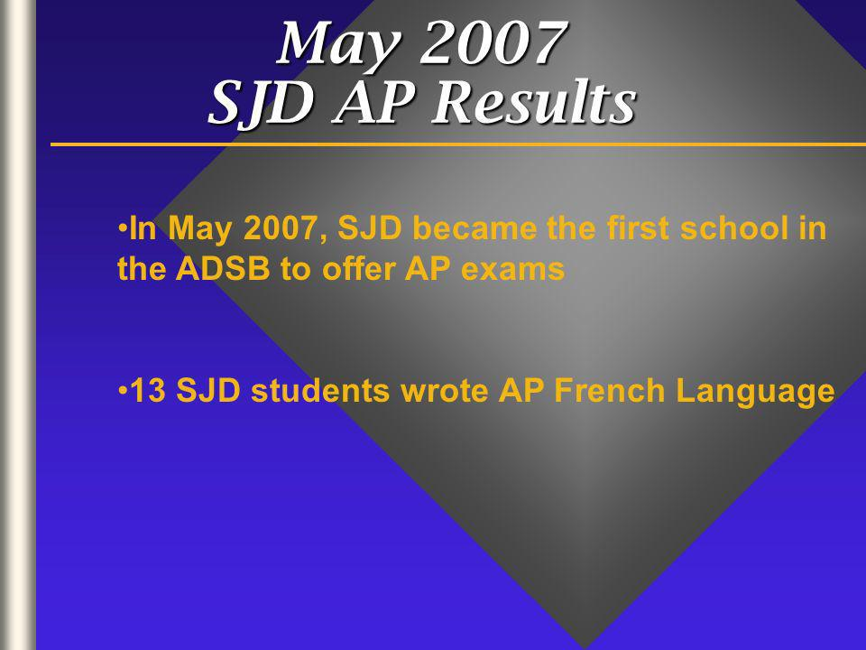 May 2007 SJD AP Results In May 2007, SJD became the first school in the ADSB to offer AP exams 13 SJD students wrote AP French Language