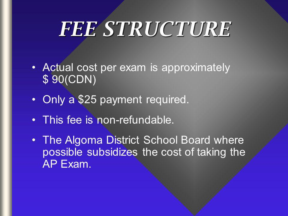 FEE STRUCTURE Actual cost per exam is approximately $ 90(CDN) Only a $25 payment required.