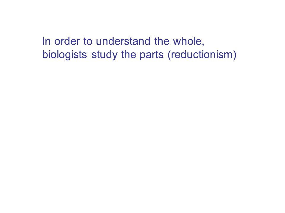 In order to understand the whole, biologists study the parts (reductionism)