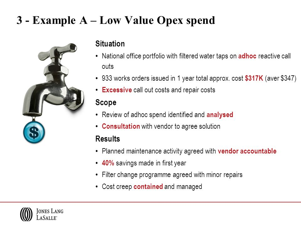 3 - Example A – Low Value Opex spend Situation National office portfolio with filtered water taps on adhoc reactive call outs 933 works orders issued in 1 year total approx.