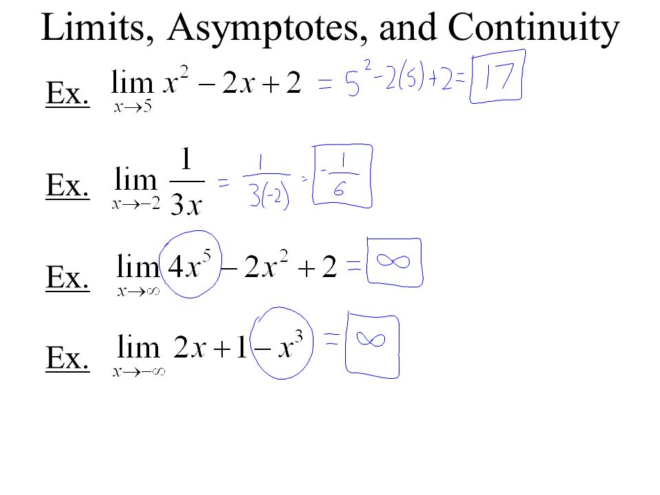 Limits, Asymptotes, and Continuity Ex.