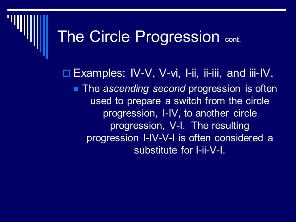 The Circle Progression cont. Examples: IV-V, V-vi, I-ii, ii-iii, and iii-IV.