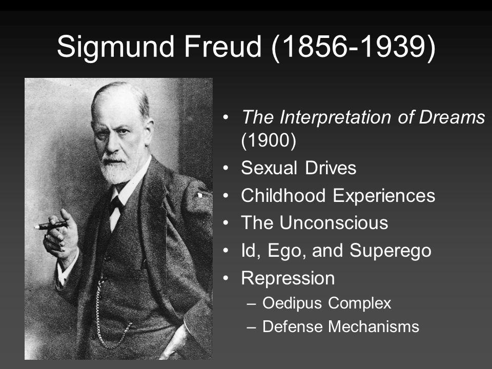 Sigmund Freud ( ) The Interpretation of Dreams (1900) Sexual Drives Childhood Experiences The Unconscious Id, Ego, and Superego Repression –Oedipus Complex –Defense Mechanisms