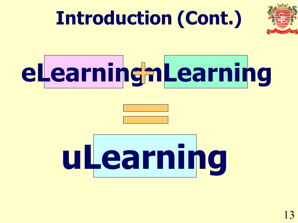 13 Introduction (Cont.) eLearningmLearning uLearning