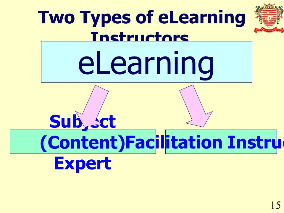 15 Two Types of eLearning Instructors. eLearning Subject (Content) Expert Facilitation Instructor
