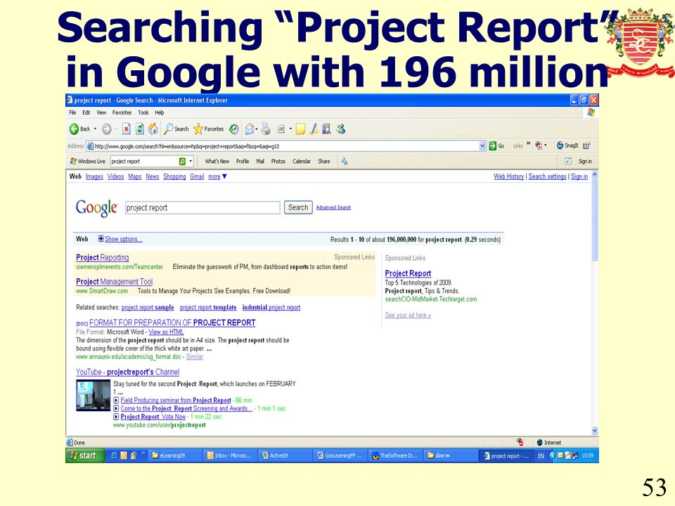 53 Searching Project Report in Google with 196 million Entries.