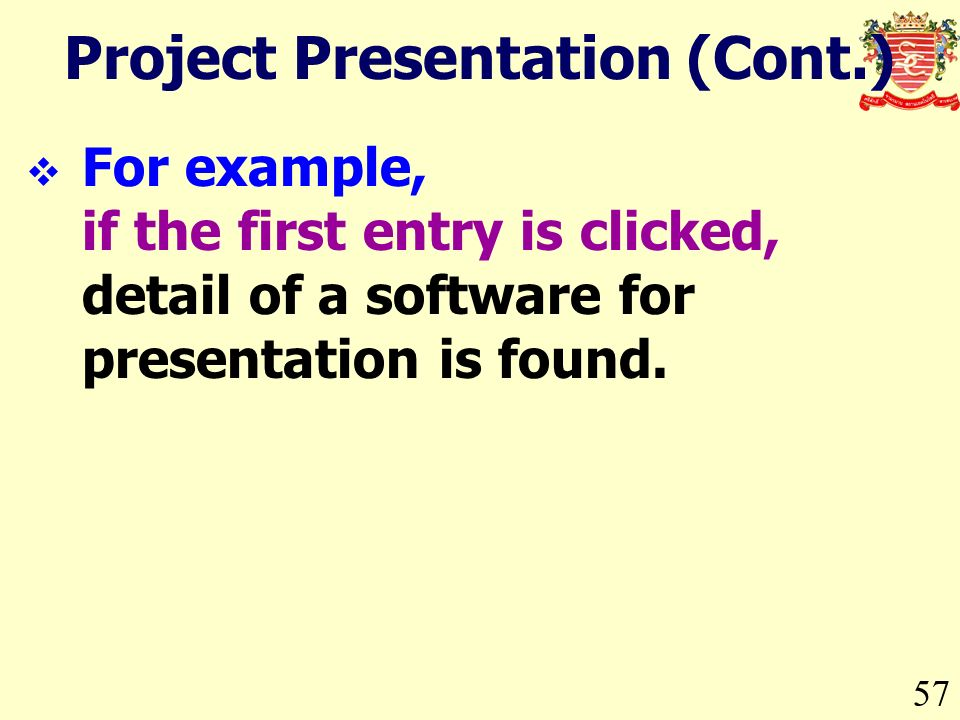 57 For example, if the first entry is clicked, detail of a software for presentation is found.