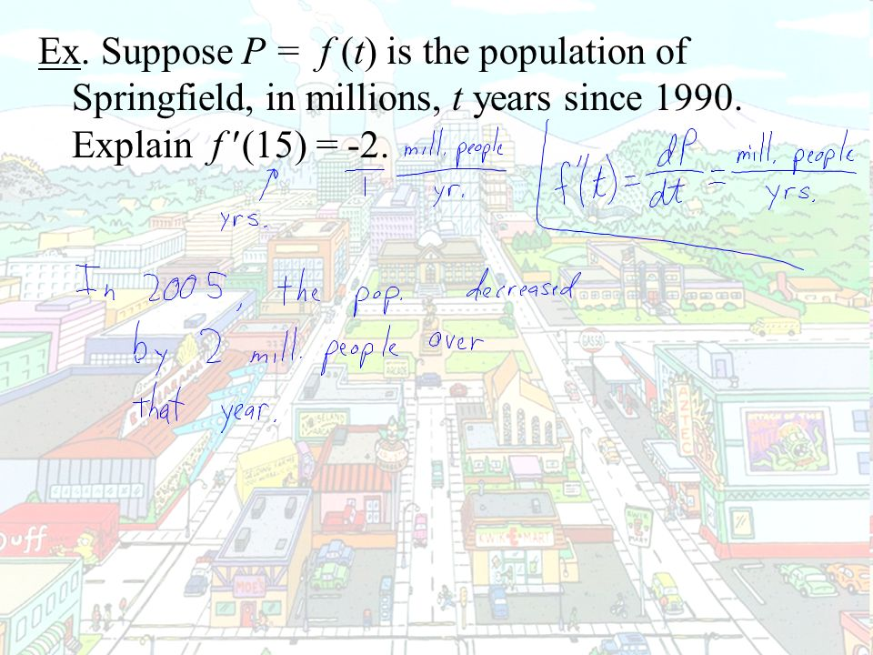 Ex. Suppose P = f (t) is the population of Springfield, in millions, t years since 1990.