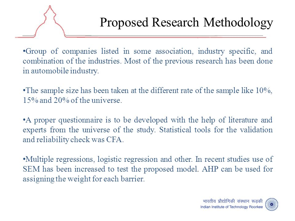 Proposed Research Methodology Group of companies listed in some association, industry specific, and combination of the industries.