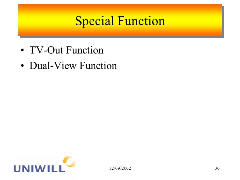 12/09/ Special Function TV-Out Function Dual-View Function