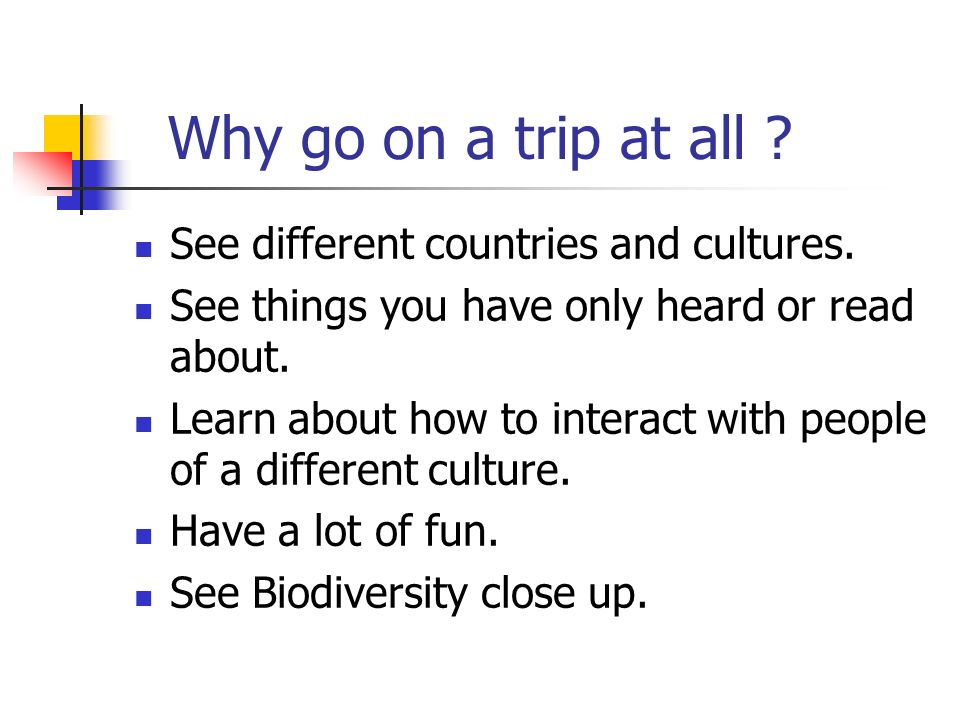 Why go on a trip at all . See different countries and cultures.