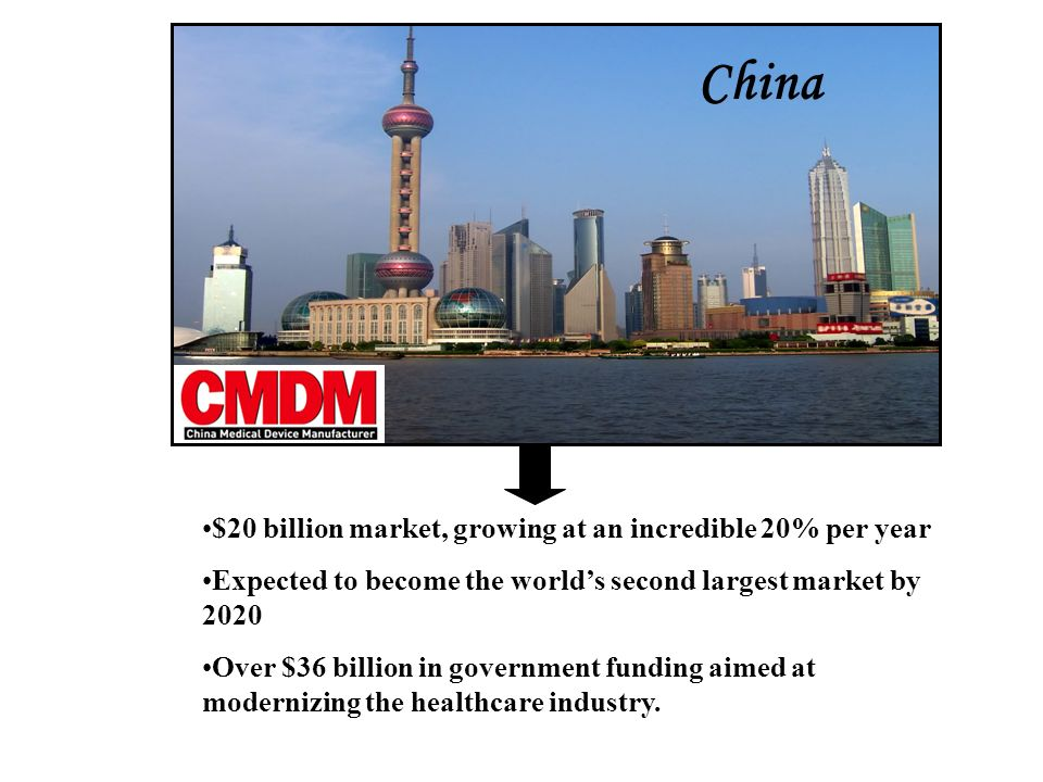 China $20 billion market, growing at an incredible 20% per year Expected to become the worlds second largest market by 2020 Over $36 billion in government funding aimed at modernizing the healthcare industry.