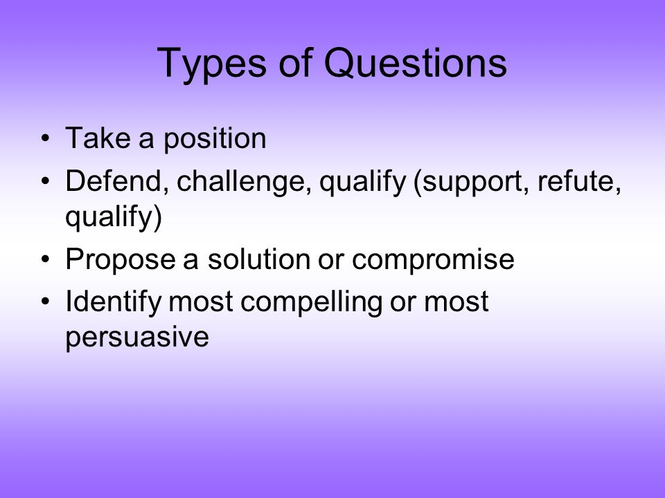 Types of Questions Take a position Defend, challenge, qualify (support, refute, qualify) Propose a solution or compromise Identify most compelling or most persuasive