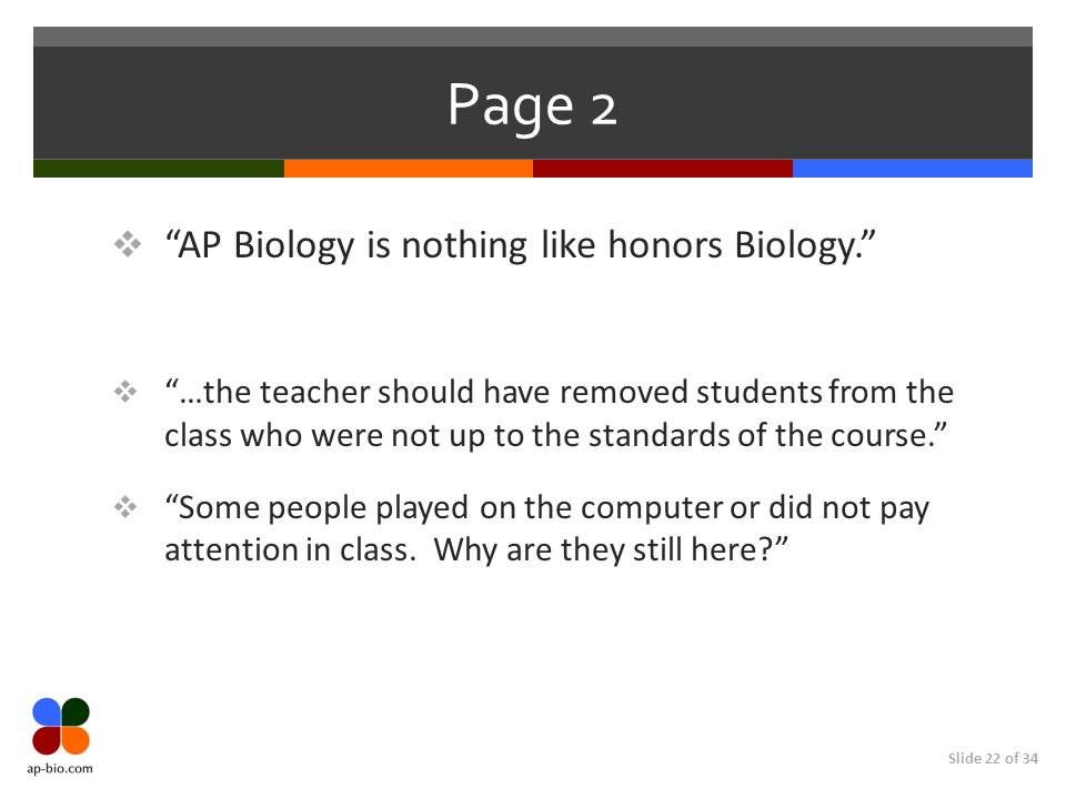 Slide 22 of 34 Page 2 AP Biology is nothing like honors Biology.