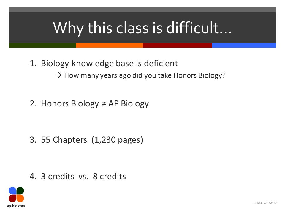 Slide 24 of 34 Why this class is difficult… 1.