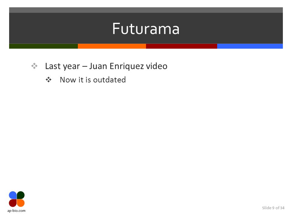 Slide 9 of 34 Futurama Last year – Juan Enriquez video Now it is outdated