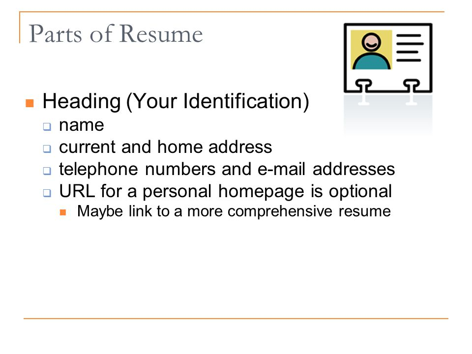 Parts of Resume Heading (Your Identification) name current and home address telephone numbers and  addresses URL for a personal homepage is optional Maybe link to a more comprehensive resume