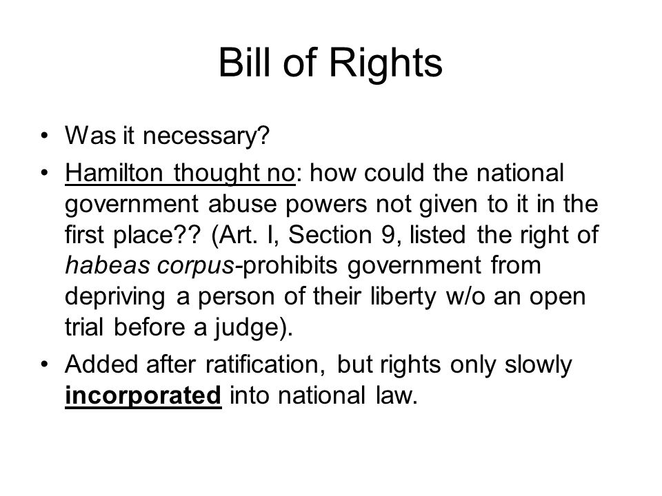 Bill of Rights Was it necessary.