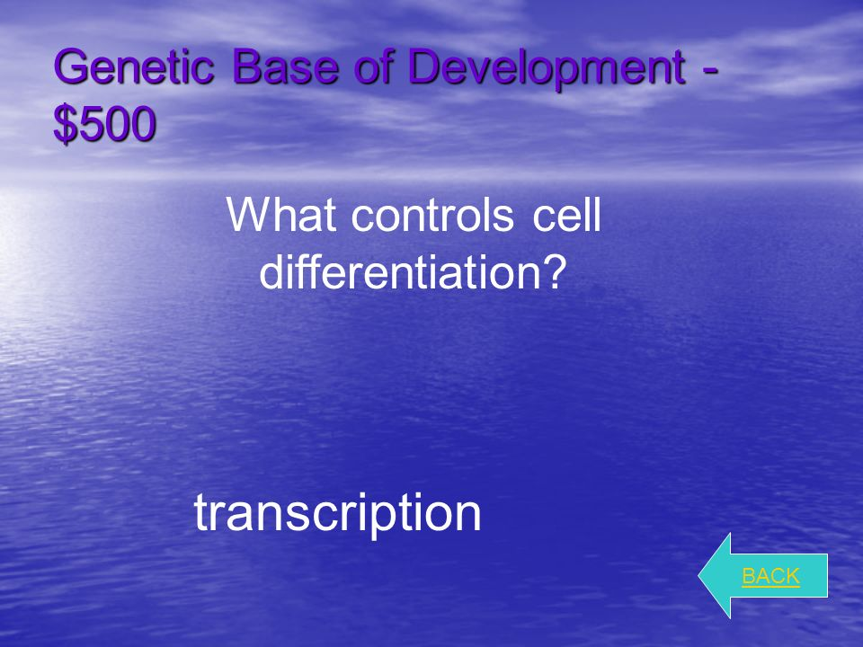 Genetic Base of Development - $300 BACK What is the importance of apical meristems.