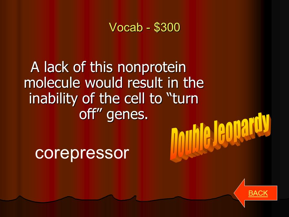 Vocab - $200 BACK Transformation Process by which external DNA is assimilated by a cell.