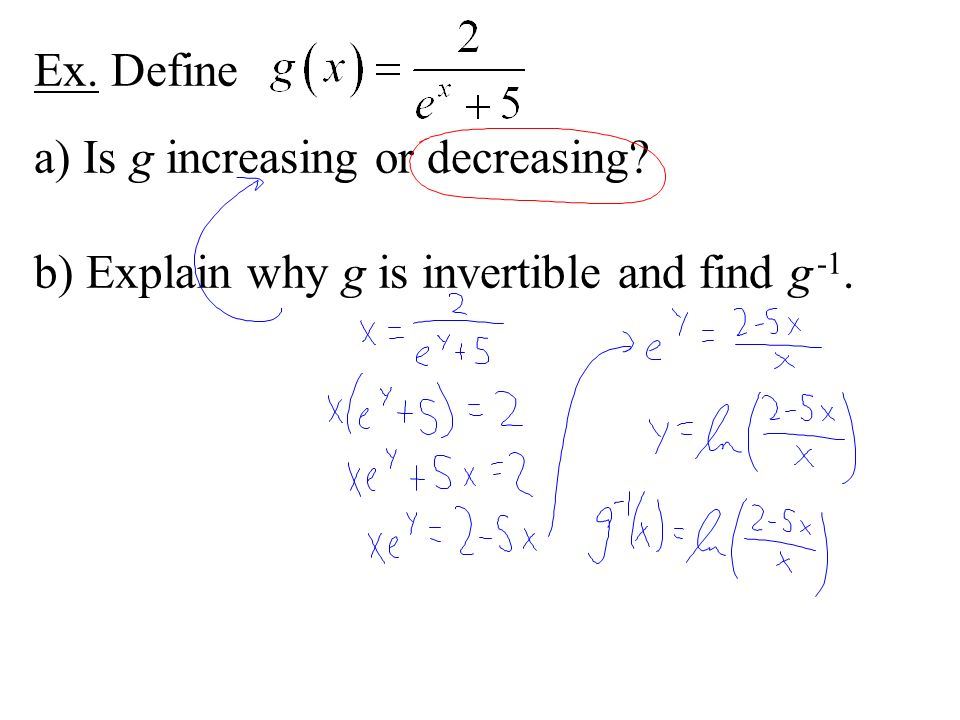 Ex. Define a) Is g increasing or decreasing b) Explain why g is invertible and find g -1.