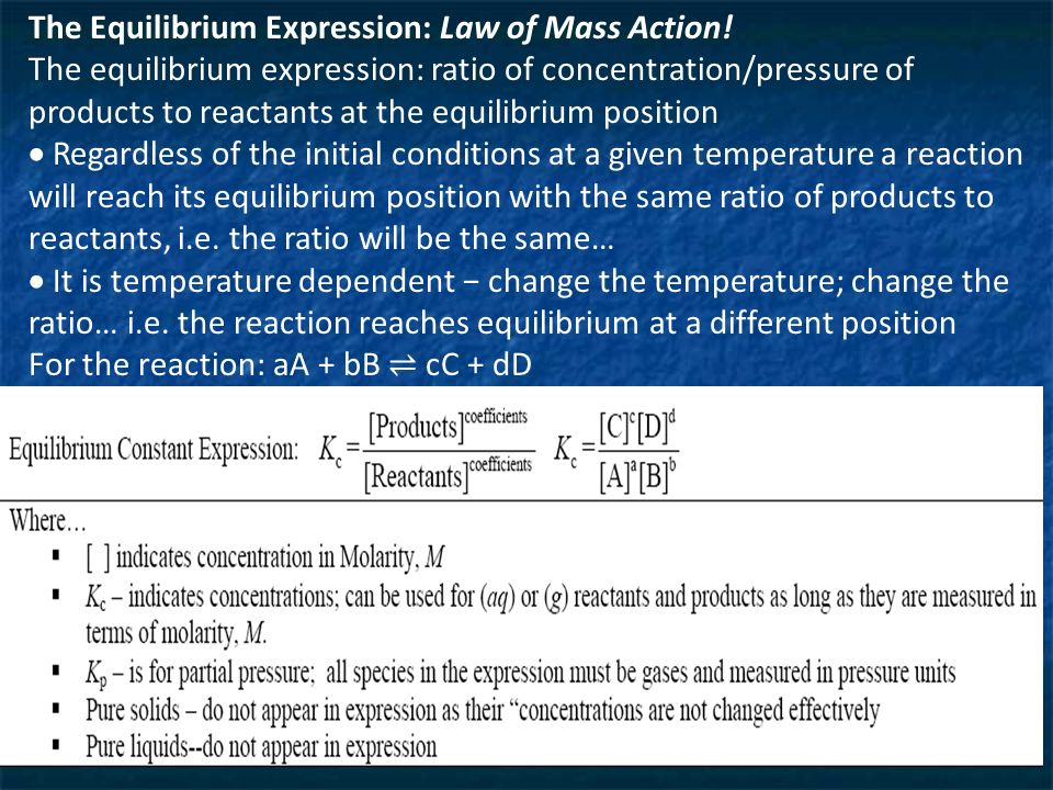 The Equilibrium Expression: Law of Mass Action.