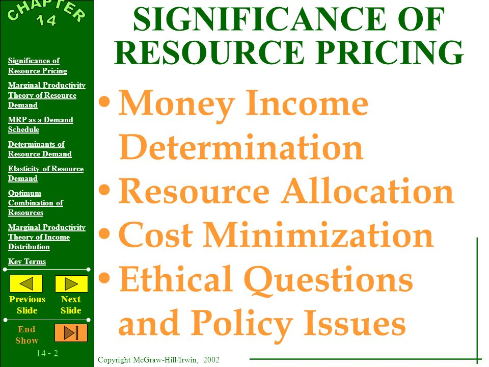 14 - 1 Copyright McGraw-Hill/Irwin, 2002 Significance of Resource Pricing Marginal Productivity Theory of Resource Demand MRP as a Demand Schedule Determinants of Resource Demand Elasticity of Resource Demand Optimum Combination of Resources Marginal Productivity Theory of Income Distribution Key Terms Previous Slide Next Slide End Show The Demand for Resources 14 C H A P T E R
