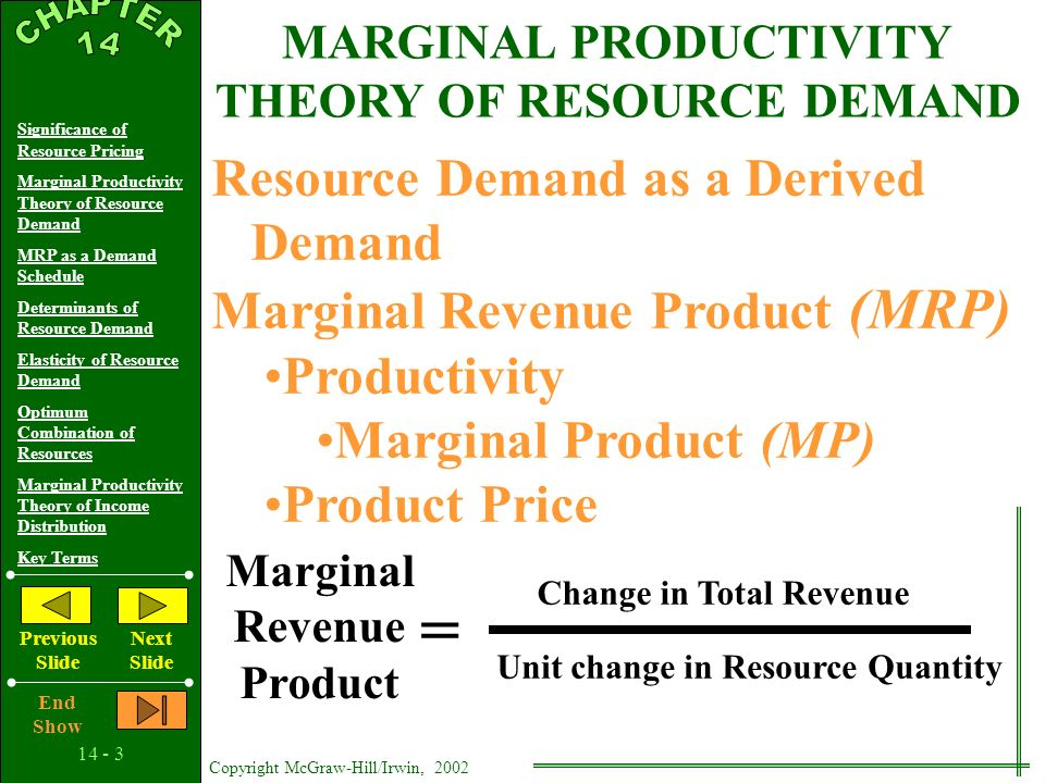 14 - 2 Copyright McGraw-Hill/Irwin, 2002 Significance of Resource Pricing Marginal Productivity Theory of Resource Demand MRP as a Demand Schedule Determinants of Resource Demand Elasticity of Resource Demand Optimum Combination of Resources Marginal Productivity Theory of Income Distribution Key Terms Previous Slide Next Slide End Show SIGNIFICANCE OF RESOURCE PRICING Money Income Determination Resource Allocation Cost Minimization Ethical Questions and Policy Issues