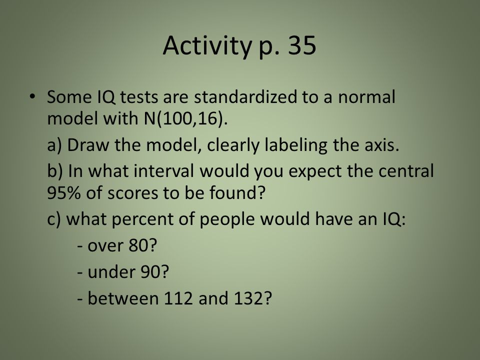 Activity p. 35 Some IQ tests are standardized to a normal model with N(100,16).