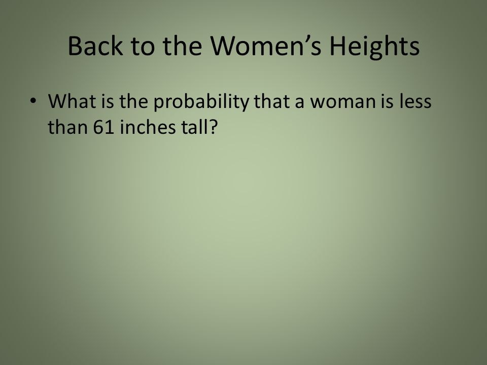 Back to the Womens Heights What is the probability that a woman is less than 61 inches tall