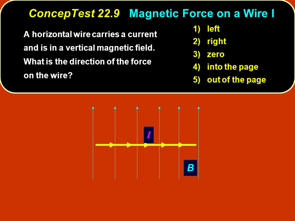 ConcepTest 22.9 Magnetic Force on a Wire I A horizontal wire carries a current and is in a vertical magnetic field.