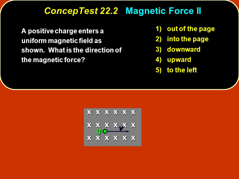 1) out of the page 2) into the page 3) downward 4) upward 5) to the left x x x x x x v q ConcepTest 22.2 Magnetic Force II A positive charge enters a uniform magnetic field as shown.