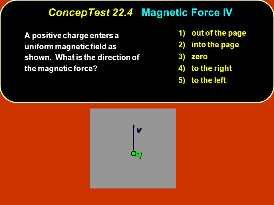 v q 1) out of the page 2) into the page 3) zero 4) to the right 5) to the left ConcepTest 22.4 Magnetic Force IV A positive charge enters a uniform magnetic field as shown.