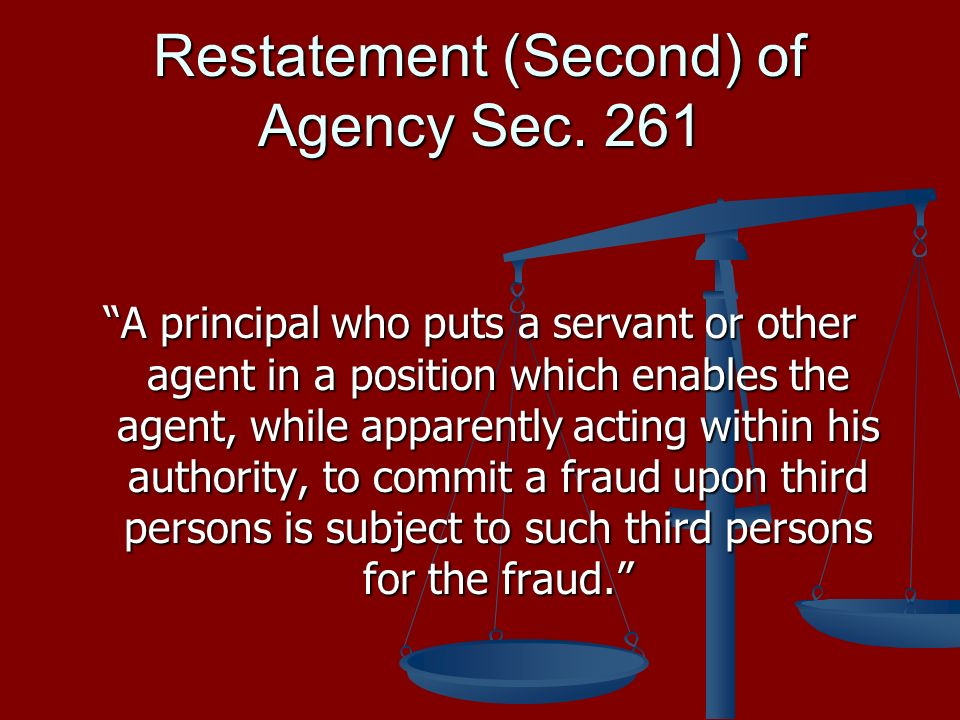 Restatement (Second) of Agency Sec.