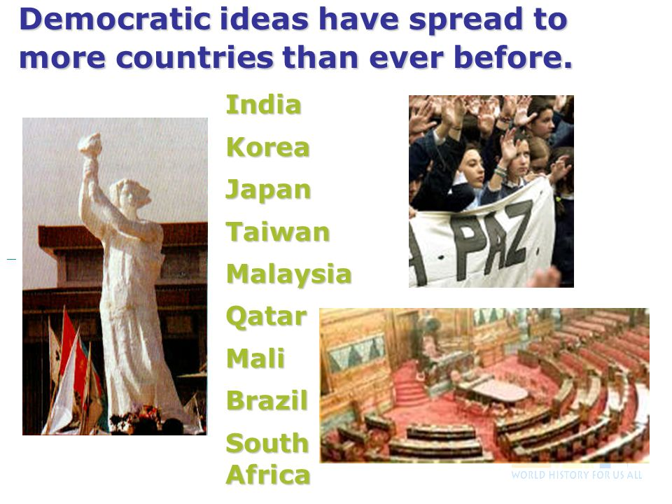 Democratic ideas have spread to more countries than ever before.