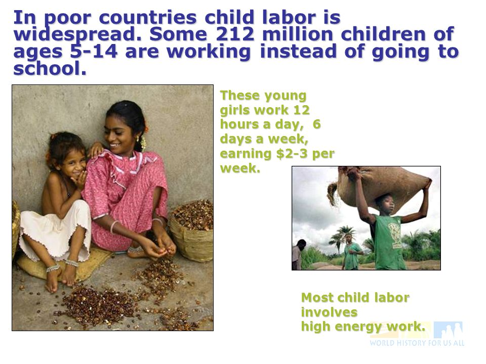 In poor countries child labor is widespread.