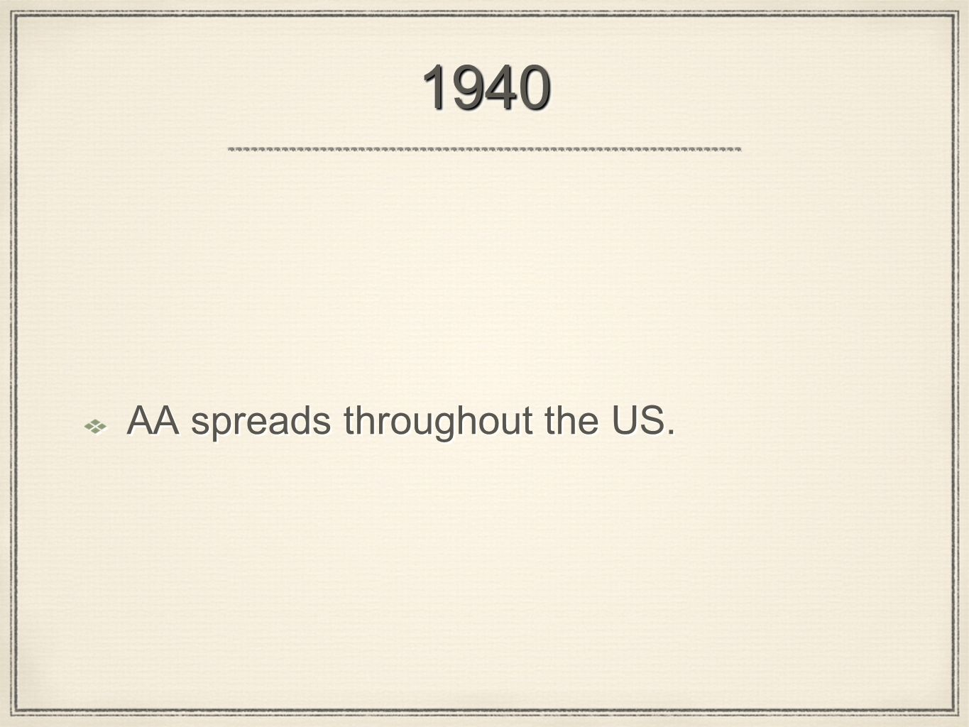 19401940 AA spreads throughout the US.