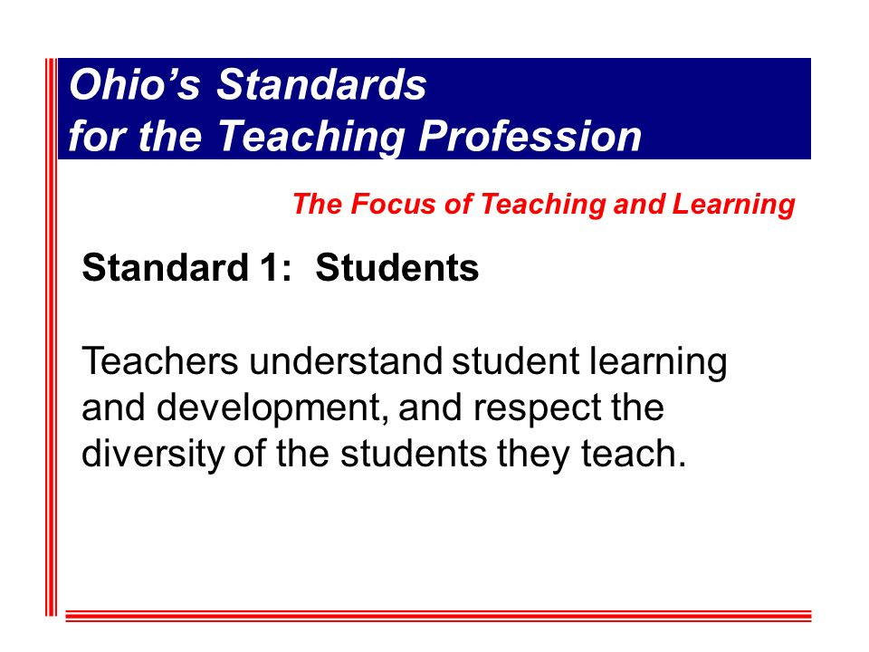 Standard 1: Students Teachers understand student learning and development, and respect the diversity of the students they teach.
