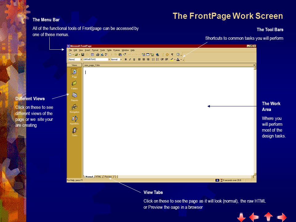 The FrontPage Work Screen The Menu Bar All of the functional tools of Front[page can be accessed by one of these menus.