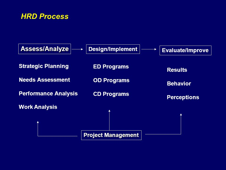 HRD Process Strategic Planning Needs Assessment Performance Analysis Work Analysis ED Programs OD Programs CD Programs Assess/Analyze Design/Implement Evaluate/Improve Results Behavior Perceptions Project Management