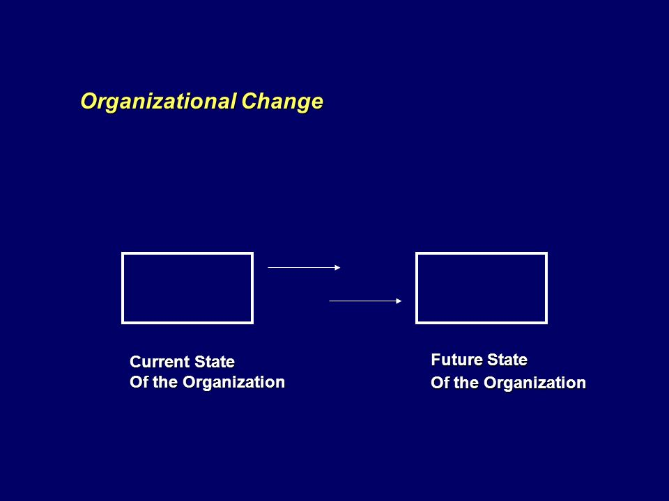 Future State Of the Organization Current State Of the Organization Organizational Change
