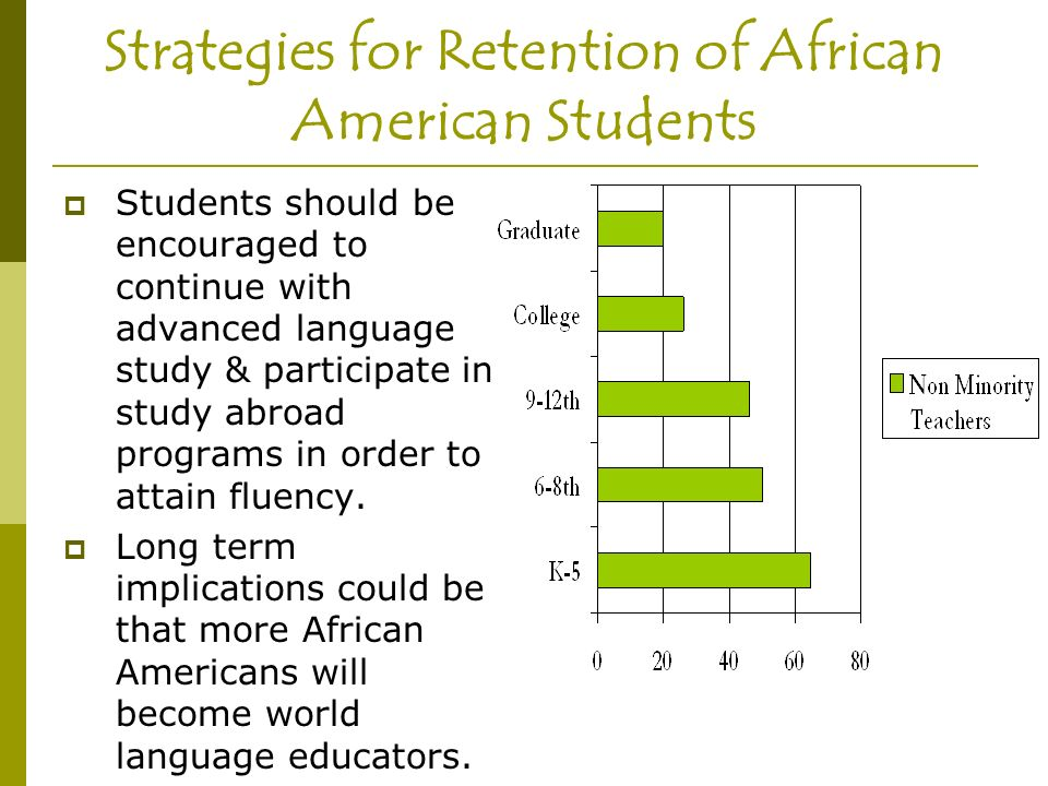 Strategies for Retention of African American Students Students should be encouraged to continue with advanced language study & participate in study abroad programs in order to attain fluency.
