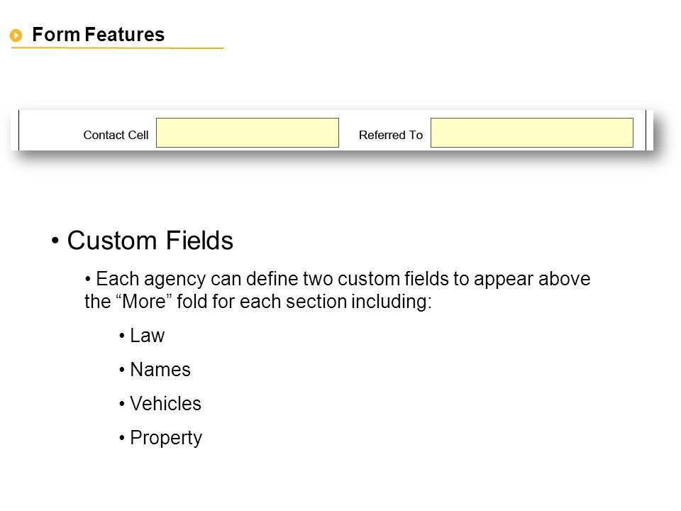 Form Features Custom Fields Each agency can define two custom fields to appear above the More fold for each section including: Law Names Vehicles Property