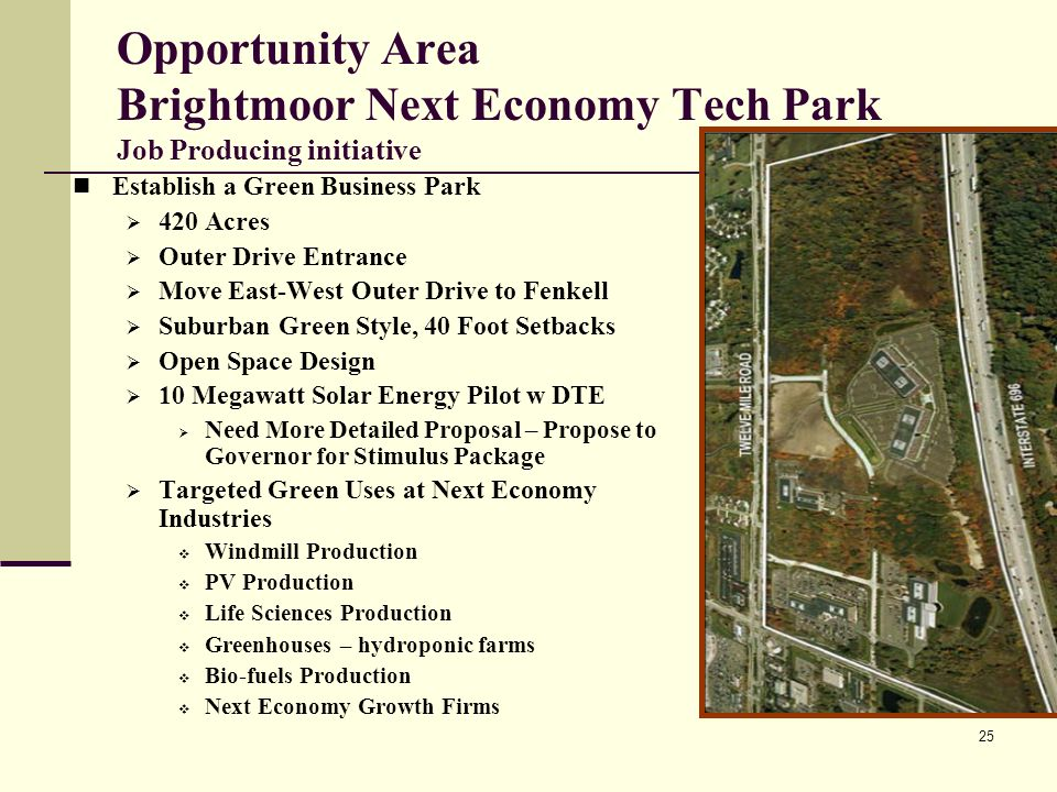25 Opportunity Area Brightmoor Next Economy Tech Park Job Producing initiative Establish a Green Business Park 420 Acres Outer Drive Entrance Move East-West Outer Drive to Fenkell Suburban Green Style, 40 Foot Setbacks Open Space Design 10 Megawatt Solar Energy Pilot w DTE Need More Detailed Proposal – Propose to Governor for Stimulus Package Targeted Green Uses at Next Economy Industries Windmill Production PV Production Life Sciences Production Greenhouses – hydroponic farms Bio-fuels Production Next Economy Growth Firms