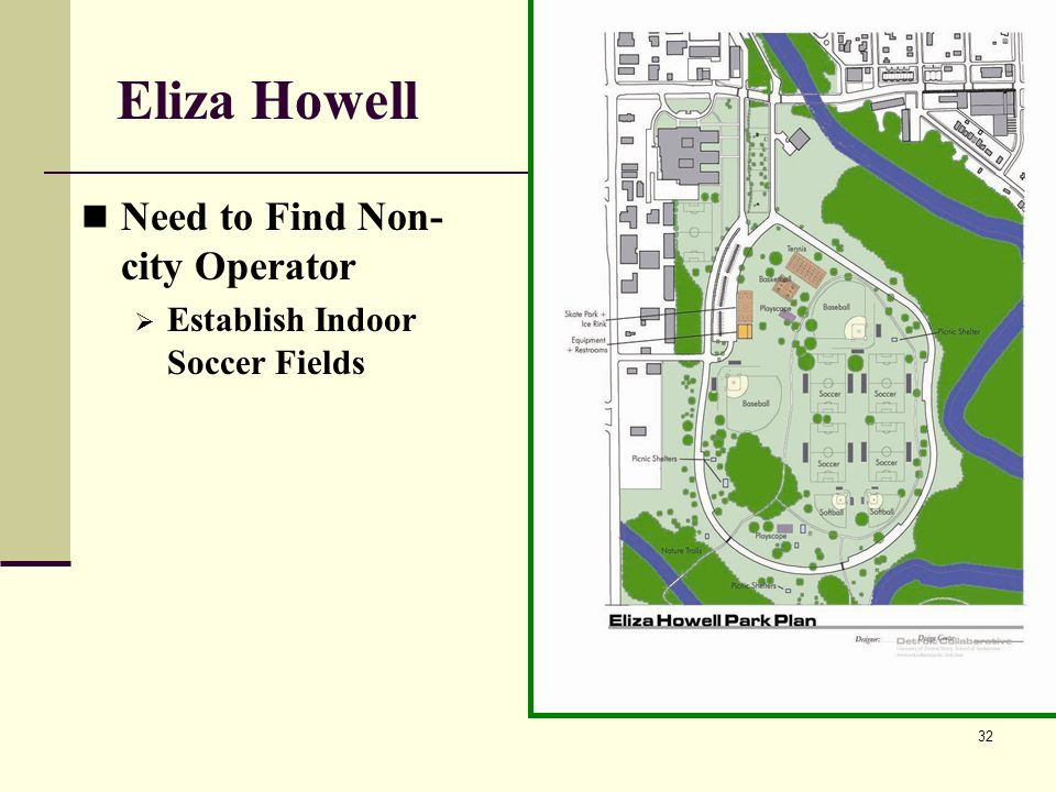 32 Eliza Howell Need to Find Non- city Operator Establish Indoor Soccer Fields
