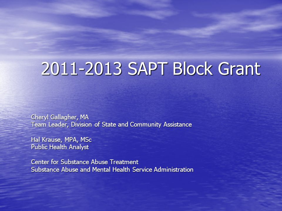 2011-2013 SAPT Block Grant Cheryl Gallagher, MA Team Leader, Division of State and Community Assistance Hal Krause, MPA, MSc Public Health Analyst Center for Substance Abuse Treatment Substance Abuse and Mental Health Service Administration