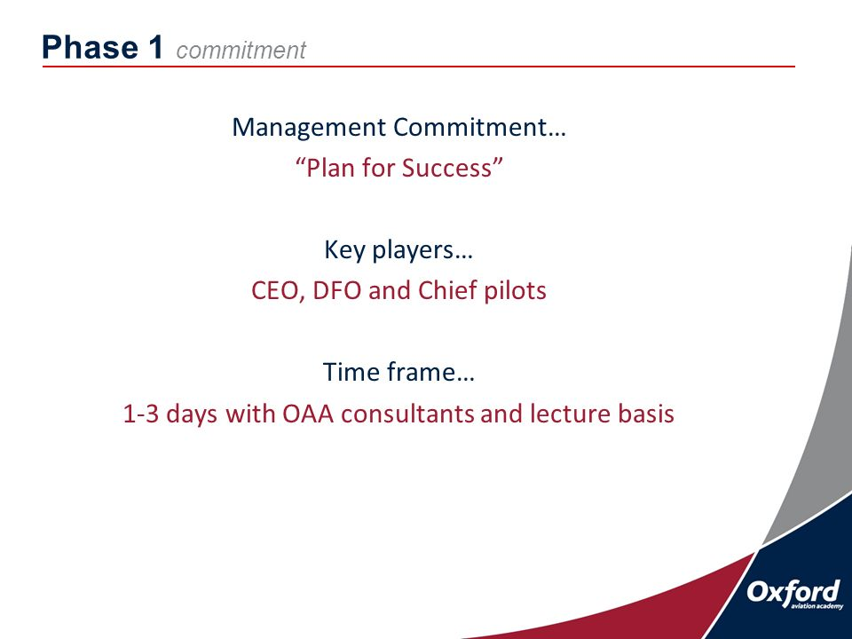 Phase 1 commitment Management Commitment… Plan for Success Key players… CEO, DFO and Chief pilots Time frame… 1-3 days with OAA consultants and lecture basis